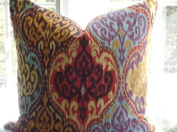 Multicolor Ikat Design Pillow